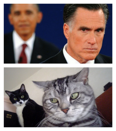 The second presidential debate in two photos.