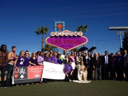 The Welcome to Fabulous Las Vegas sign went purple to stand up against bullying!  Go purple now.