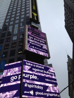 The Reuters building in Times Square went purple to stand against bullying for Spirit Day!  Go purple now!