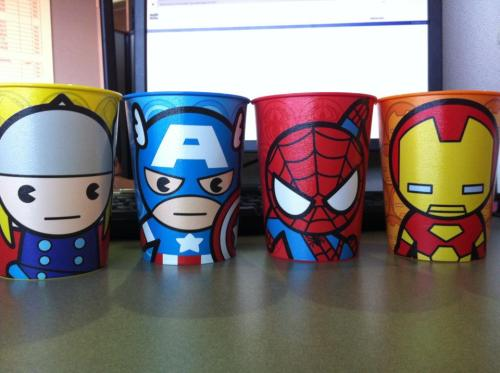 OMG I love these. I want to keep Cap and Thor for work but I think I'm just going to have to buy extras cause I need the whole set at home. XD