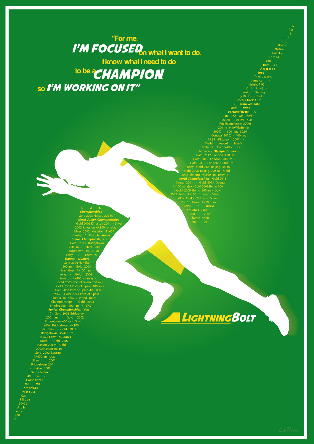 Lightning Bolt Tribute poster to Usain Bolt, the fastest man on earth