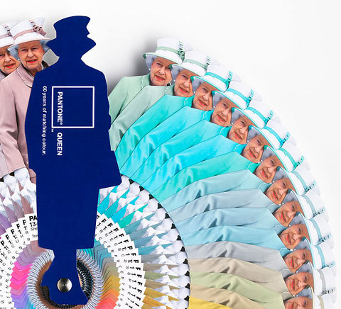Awesome pantone swatch book of Queen Elizabeth II: Pantone and Leo Burnett London created a color swatch book directly inspired by Her Majesty's consistently color-coordinated ensembles.