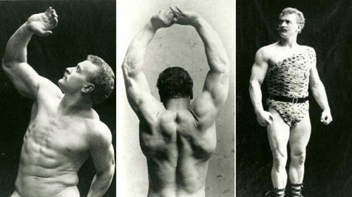 Eugene Sandow, born Friedrich Wilhelm Müller, was a Prussian athlete who is considered to be the father of bodybuilding. He studied Greco-Roman statues, which were known for their idealized portrayal of the male body, and consciously developed his physique to meet their exact dimensions. Thus, he became the first person to practice what we now call bodybuilding, in which people develop their musculature in specific ways to meet predetermined proportions. Until he undertook this unique project, and published two books on the subject, most people didn't realize such a thing was possible to attain in real life.  Sandow was also one of the first global celebrities of his time, having come of age when photography and mass media were first catching on.  Read more about this interesting and little-known historical figure here.