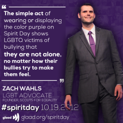 Spirit Day Ambassador Zach Wahls is an amazing ally! Go purple now to stand up against bullying:http://glaad.org/spiritday