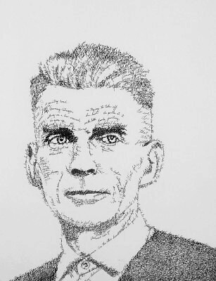 Samuel Beckett as drawn by the artist John Sokol.