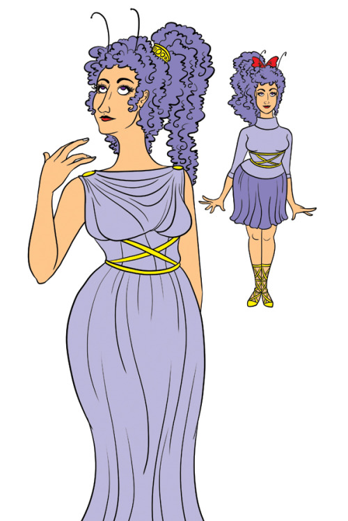 "rosalarian:  Goddess Sappho design for Lesbian Pirates From Outer Space. Sappho was described in literature as ""violet haired"", which I don't think literally means purple hair, except this is outer space Sappho so she gets it. I had initially been thinking that the fashion should blend ancient Greece with American 1950's, but decided to just go with the Greek aesthetic instead."