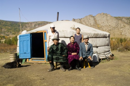 A host family outside their ger in Mongolia - 2006