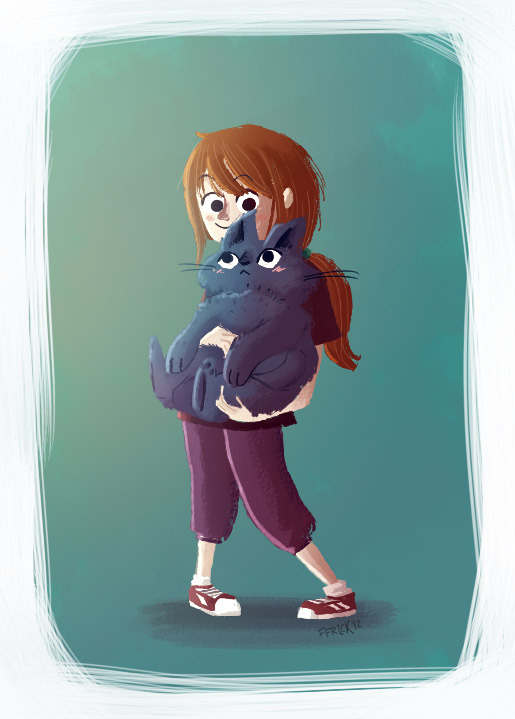 A little girl and her fat cat / Una niña y su gato gordoTesting another style :)