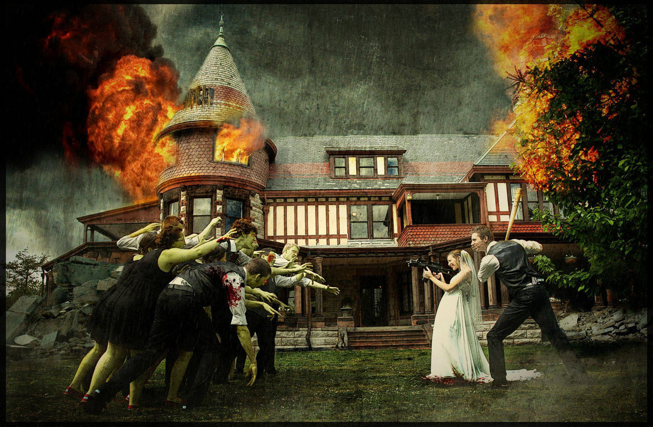 Epic Zombie Themed Wedding Photo To fully understand the awesomeness of this picture you NEED to check out the timelapse video below of how it was PhotoShopped into the supreme righteousness above.