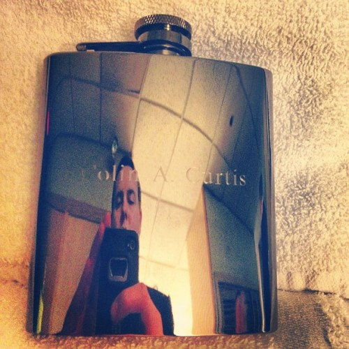 Engraved flasks as groomsmen gifts. Win.