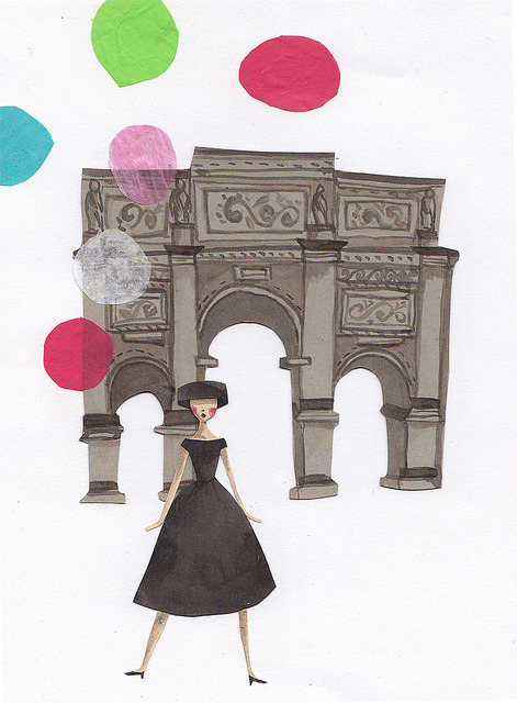 balloons  by emma block on Flickr. An illustration of Audrey Hepburn from the film Funny Face. Illustration by Emma Block.