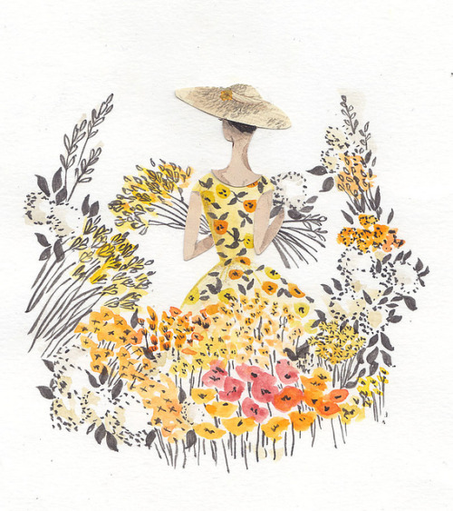 yellow flowers by emma block on Flickr. An illustration of Audrey Hepburn from the film Funny Face. Illustration by Emma Block.