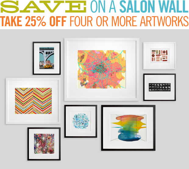 We love a stylish salon wall, and we're offering 25% off four or more prints so you can create one of your own. Use the code SALON25 at checkout to take advantage of the discount.  Choose among hundreds of prints by emerging, established, and legendary artists. You can sort by price, by color, by artist, and by a range of categories—from abstract to water.   You could start by collecting framed artworks like the ones we have featured above (clockwise from upper left): Going Under by Jorge Colombo, prettymaps (paris) by Aaron Straup Cope, Day 1: Vintage Erasers by Lisa Congdon, Animal Locomotion: Plate 759 (Bird) by Eadweard Muybridge, Rorschach by Laura Newman, 125 Swimming Pools by Jenny Odell, Sugarcoat by Michelle Hinebrook, Zigzag1 by Valerie Roybal. (limited editions × low prices) + the internet = art for everyone ® The sale ends on Sunday, October 21. Details are here.