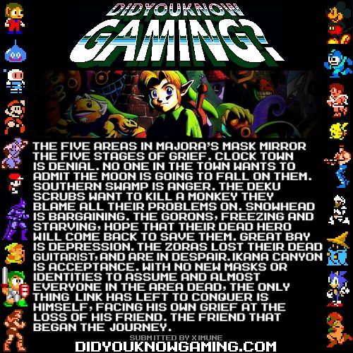 peccavi-opere:  coelasquid:  didyouknowgaming:  The Legend of Zelda: Majora's Mask. I encourage people to read the full article, for no other reason than it's a very interesting read.  This is super interesting and explains a lot  AHHHOMG