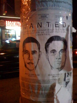 Obama Romney #streetart Wanted for constitutional crimes