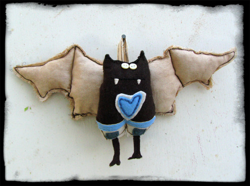 Batboy. Stuffed bat toy/hanging by Megan.