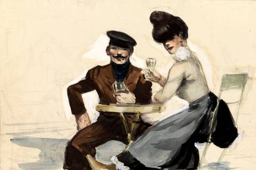 Edward Hopper, Couple Drinking, 1906-1907