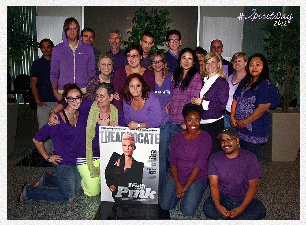 The staff at Here Media's Los Angeles office show their support for bullied LGBT youth by wearing purple in honor of Spirit Day, on Friday. Read a commentary by the teenage founder of Spirit Day here.
