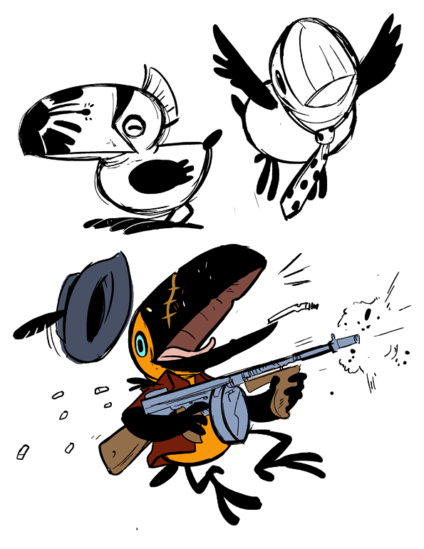 Some toucan doodles.  I kind of like the Scarface toucan…
