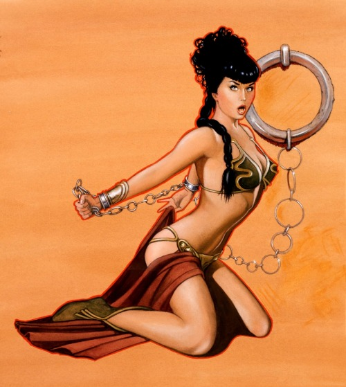 starwarsgonewild:  Bettie Page as Slave Leia by Jim Silke  EDIT: corrected title and source.