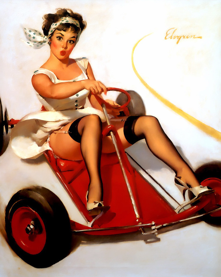Sharp Curves (1960) by Gil Elvgren