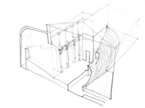 On site Sectional Axon view of the Olympic Theater, Vicenza Italy