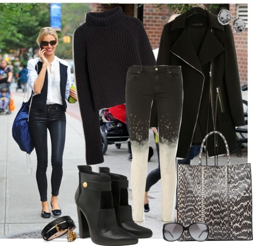 Street Fab! by ischele featuring turtle neck shirtsT By Alexander Wang turtle neck shirt / Long black coat / Just Cavalli dip dye jeans / Alexander Wang leather booties / Balenciaga  / Alexander McQueen  / MUGLER steel jewelry / Gucci logo sunglasses, $355