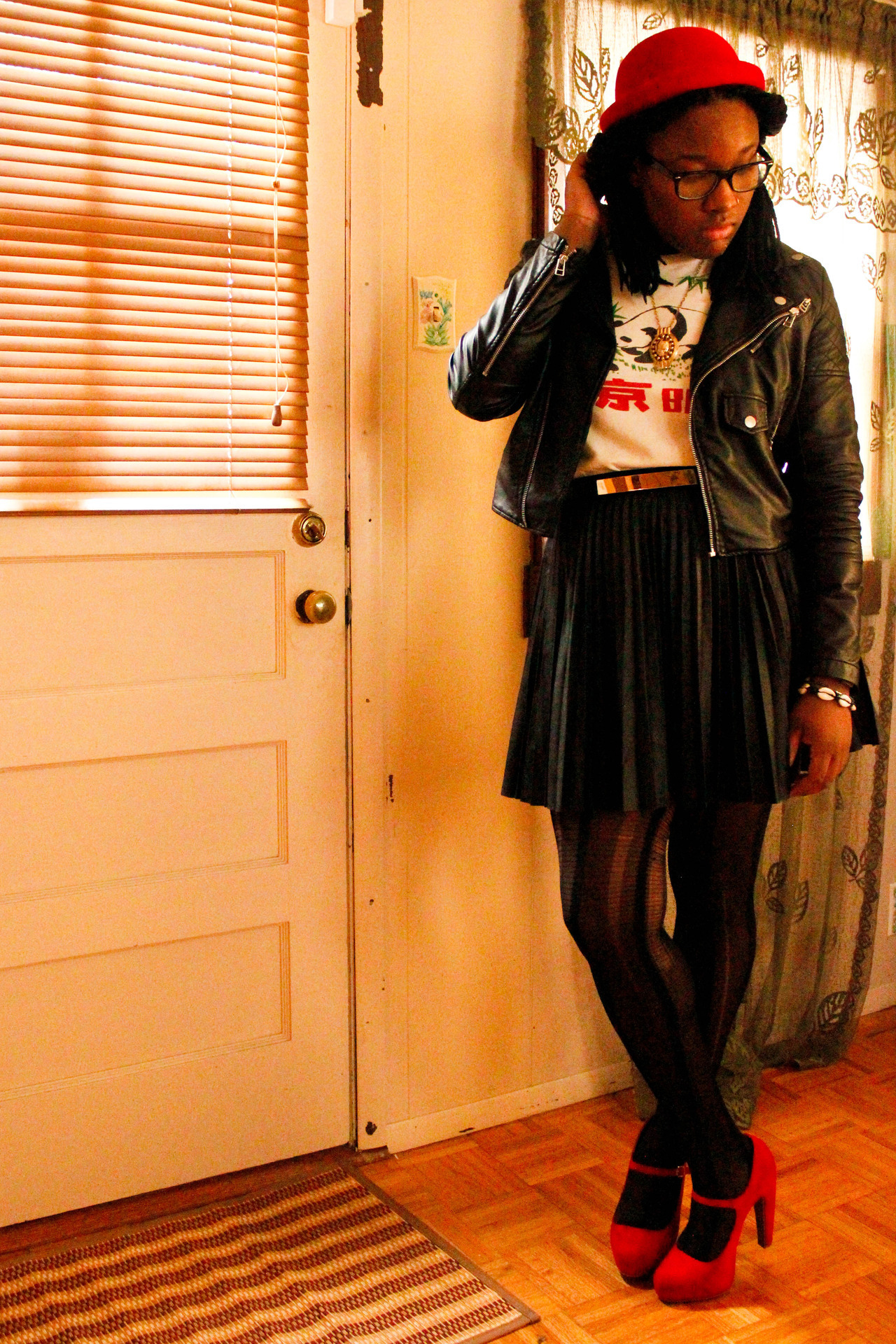Glasses:UrbanOutfitters, Hat:online shop, Shirt:Thrift find, Skirt:Forever21, Tights:UrbanOutfitters, Shoes:Target, Jacket:NastyGal, Jewely:antique store & vendor Jasmine,24,St.Louisayaevolve.tumblr.com #Blackfashion On FacebookTwitter @BlackFashionbyj