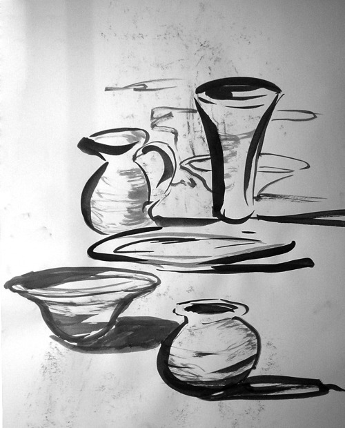 Pottery Ideas, ink wash, September 2012