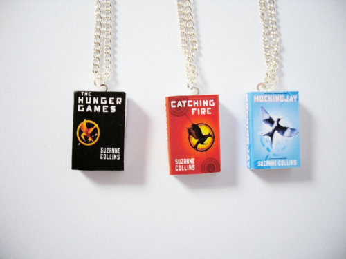 Hunger Games Trilogy Miniature Book Necklaces by ~beautboutique on deviantART