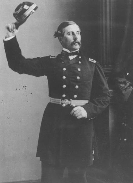 Commander of Irish Brigade during US Civil War, Thomas Francis Meagher, lifting his cap while standing Federal officer's uniform. Date taken:1862