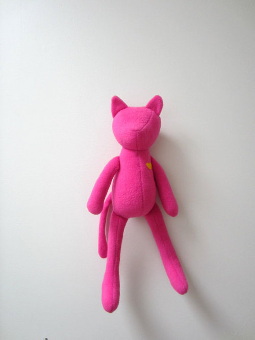 Cat doll Neon pink soft fleece heirloom baby girl kids by bubyNoa