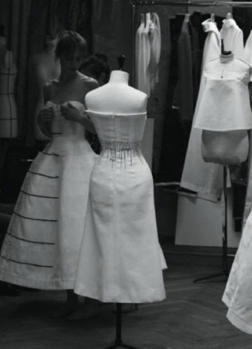 Toile look inside the atelier for Christian Dior haute couture f/w 2012, photographed by Quentin De Briey