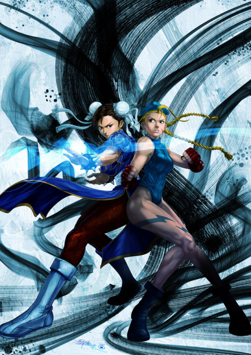bluedogeyes:  Chun-Li and Cammy by Santa Fung Artist facebook