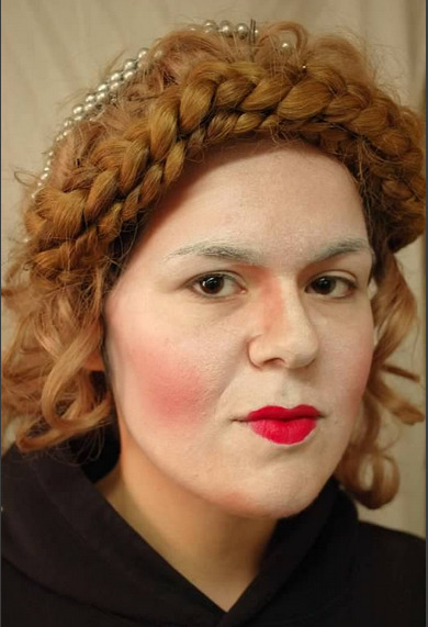 Me as Queen Elizabeth. Worst wig ever. My makeup, not my makeup design.