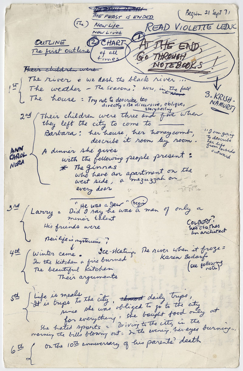 theparisreview:  James Salter's outline for his novel, Light Years.