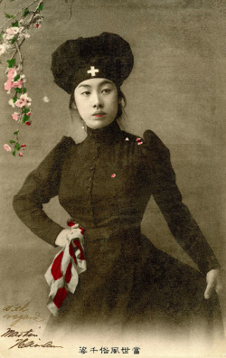endilletante:  Japanese Nurse dressed in Black 1905 by Blue Ruin1 on Flickr.