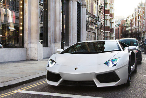 Lamborghini Aventador LP700 in white - Parked on a London street