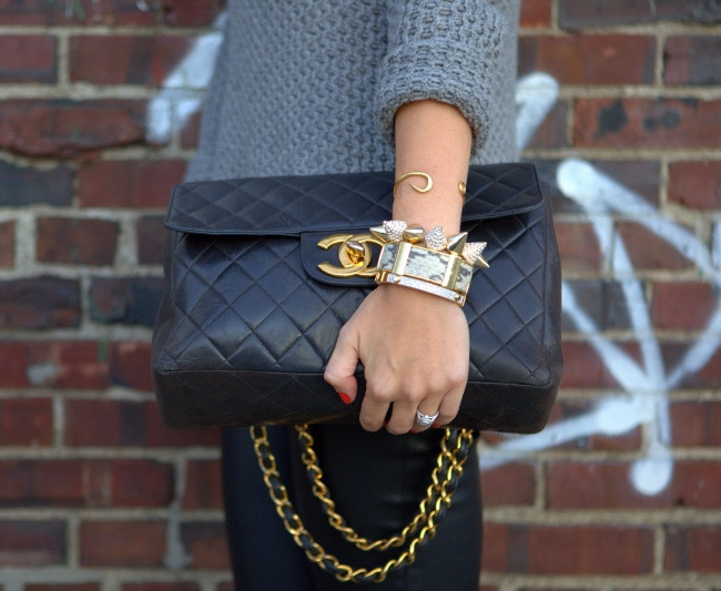 what-do-i-wear: Sweater: Zara, Pants: Zara,Bracelets: Cara Spiked, Giles & Brother Hook Cuff,Michael Kors, J Crew. (image: brooklynblonde)
