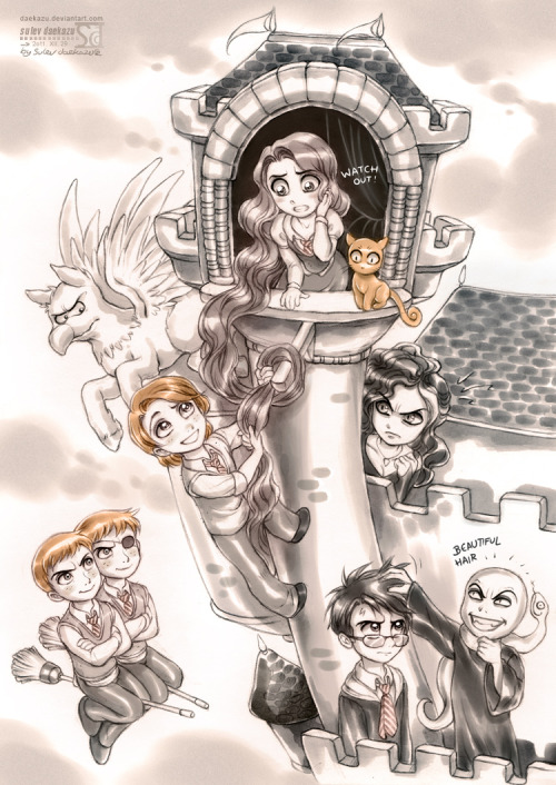 (x)Characters from HP + Rapunzel universeSo:Hermione is RapunzelCrookshanks ~ PascalBuckbeak ~ MaximusRon ~ Flynn RiderBellatrix ~ Mother GothelFred, George ~~ Stabbington BrothersHarry and Voldemort are… themselves.