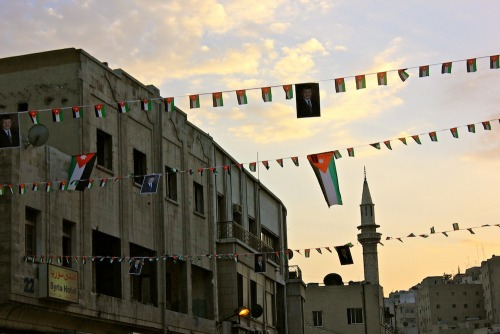 Downtown Amman, flags abound, the night before the first annual Amman Marathon.