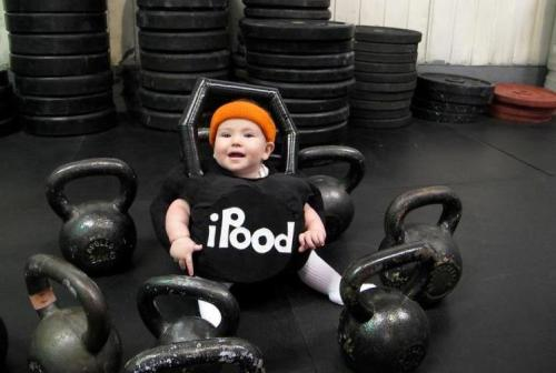 Crossfit Baby Costumes! Awwww… Just so you know, I do not endorse baby swinging as part of a WOD! But I DO endorse adorable fitness baby pics. :) *For non-crossfit peeps, a pood is a russian form of measurement, typically for kettlebells: 1 pood = approx. 36lbs, 1.5 poods = 54lbs etc.! Now you know! :)