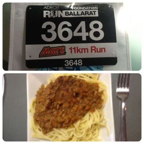 Race bib? Check.  Carb loading? Check.  Time for sleep then tomorrow 11km around Ballarat!  Night tumblr!