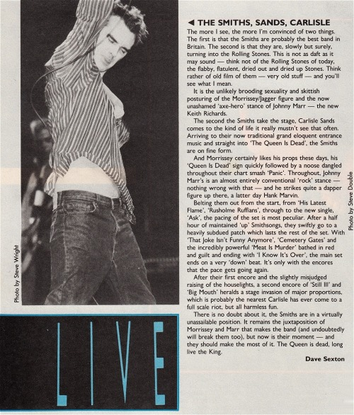 Review of The Smiths' October 13th, 1986 gig at the Carlisle Sands Centre, by Dave Sexton for Record Mirror.