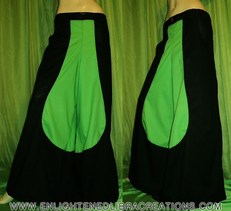 Neon Green and Black Mega Phatts - You Save $10 :http://www.enlightenedlibracreations.com/Store/neon-green-n-black-phat-rave-pants/prod_333.html (C) ELC Exclusive Design ! Front Inside Pockets, Velcro Closure Back Pockets, Plus Professionally Serged, Top Stitched and Reinforced Quality that is way better than any of the pictures can convey. Read what my customers have to say : http://www.enlightenedlibracreations.com/Store/index.php?act=viewfeedback2