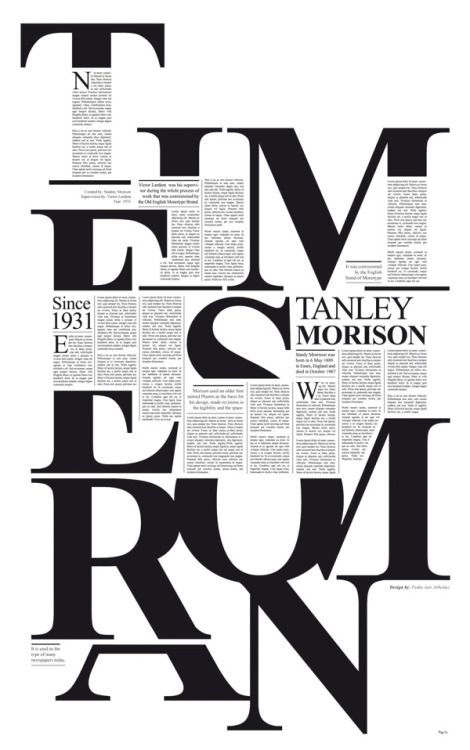 karenhurley:  Times New Roman a tribute to Stanley Morison, by Pedro Javier Arbelaez on Behance