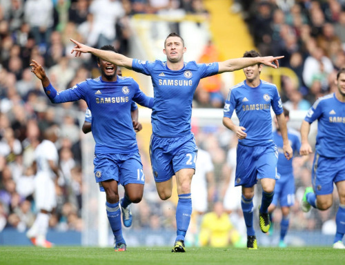 Cahill celebrating his goal against Spurs.