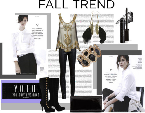 Fall Trend di fernandamaverick contenente black and gold earrings ❤ liked on PolyvoreLipsy sheer shirt, $65 / Helmut Lang leather pants / Black velvet boots / Orla Kiely  / Dorothy Perkins  / Black and gold earrings / Bare Escentuals , $26