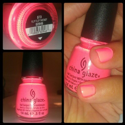 beauty-thesis:  #thinkpink Flip Flop Fantasy nail #polish by @chinaglaze #bca #neon #pink #makeup #nailpolish #october  my fav! <3 I think I need to polish my nails now..hehe