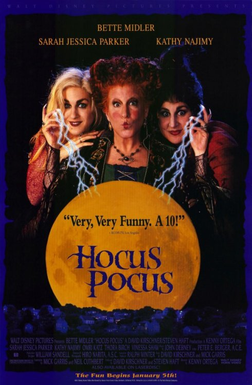 Hocus Pocus (1993)  After 300 years, three sister witches are resurrected in Salem Massachusetts on Halloween night, and it us up to two teenagers, a young girl, and an immortal cat to put an end to the witches reign of terror once and for all  Cast: Bette Midler, Sarah Jessica Parker, Kathy Najimy, Omri Katz, Thora Birch, Vinessa Shaw, Sean Murray Follow this blog for the neverending list of all the teen movies ever made!